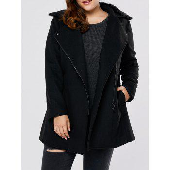 Fur Collar Plus Size Long Wool Blend Coat