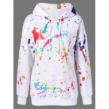 Buy Splatter Paint Drop Shoulder Hoodie WHITE