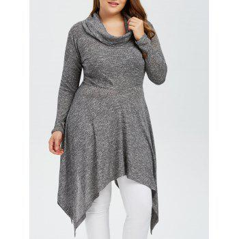Plus Size Asymmetric Cowl Neck Knitwear - GRAY 3XL
