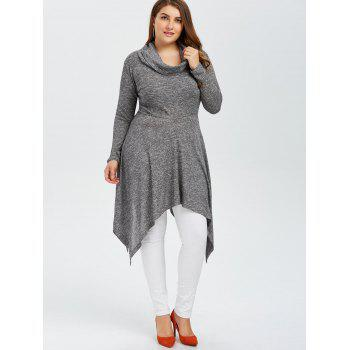 Plus Size Asymmetric Cowl Neck Knitwear - 3XL 3XL