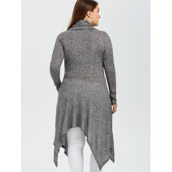 Plus Size Asymmetric Cowl Neck Knitwear - GRAY GRAY