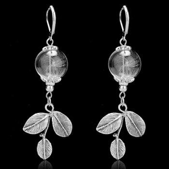 Dandelion Leaf Glass Ball Earrings