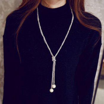 Artificial Pearl Embellished Sweater Chain
