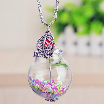 Leaf Heart Glass Ball Pendant Necklace