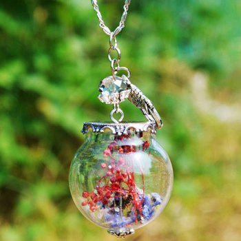 Dry Flower Glass Ball Pendant Necklace