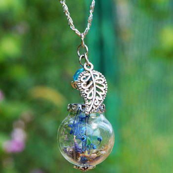Dry Flower Glass Ball Leaf Necklace