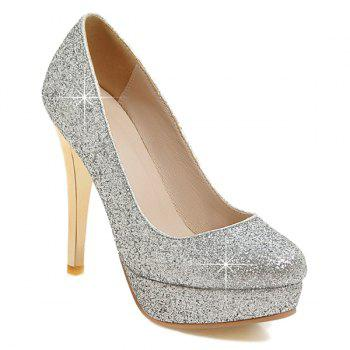 Buy Platform Glitter Sequined Cloth Pumps SILVER