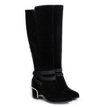 Block Heel Zipper Knee High Boots