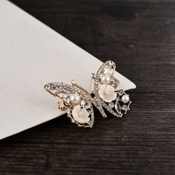 Artificial Pearl Rhinestone Flower Butterfly Brooch