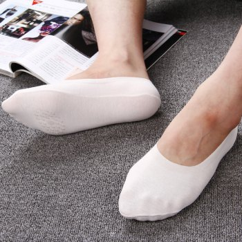 Plain Cotton Blend Skidproof Invisible Socks - WHITE WHITE