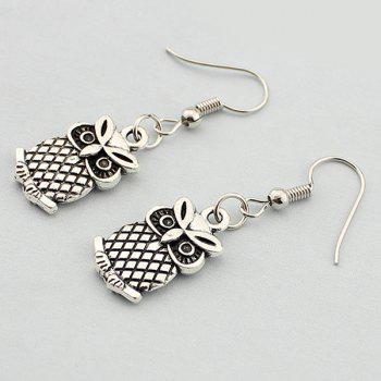 Embossed Owl Drop Earrings
