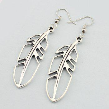 Feather Hollow Out Drop Earrings