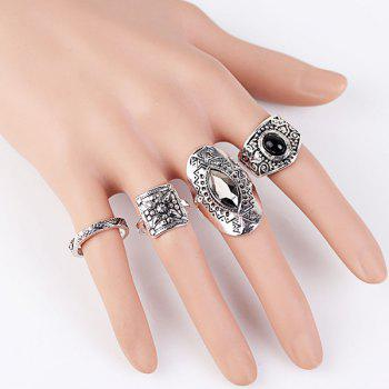 Geometric Fake Gem Carving Rings Set