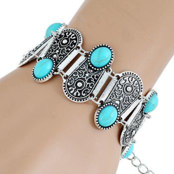 Faux Gem Embossed Geometry Bracelet