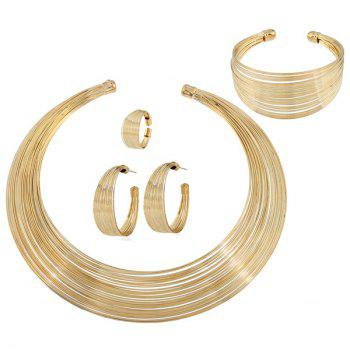 Metal Wire Layered Jewelry Set