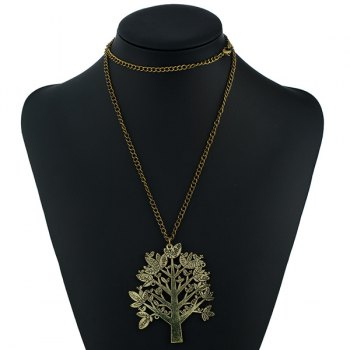 Christmas Letter Pattern Life Tree Sweater Chain -  BRONZED