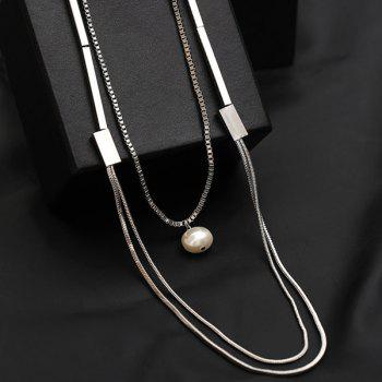 Faux Pearl Layered Vintage Sweater Chain - SILVER