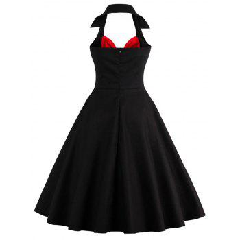 Halter Corset Vintage Rockabilly Swing Dress - RED/BLACK M