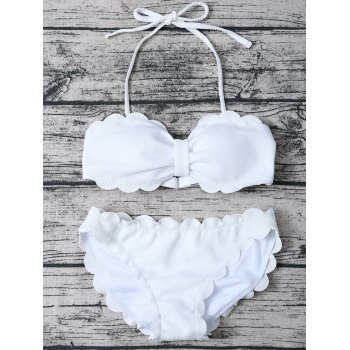 Halter Three Piece Scalloped Bathing Suit