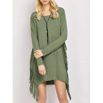 Fringed Long Sleeve Dress