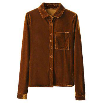 Breast Pocket Velvet Shirt