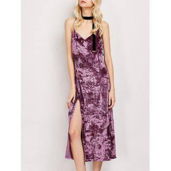 Side Slit Crushed Velvet Slip Dress
