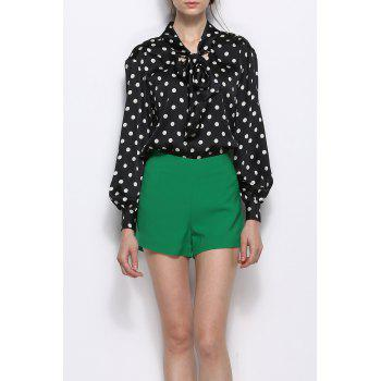 Polka Dot Bow Collar Blouse With Shorts