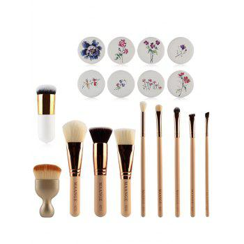 10 Pcs Makeup Brushes + Air Puffs