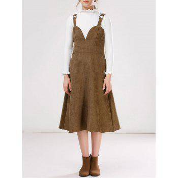 Pinafore Faux Suede Midi Dress With Fitting Knitwear