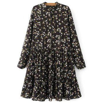 Long Sleeve Floral Mandarin Collar Dress