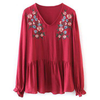 Floral Embroidered Ruffle T-Shirt