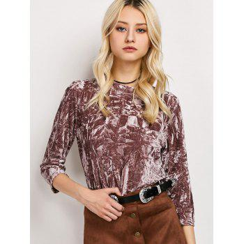 Mock Neck Crushed Velvet Top