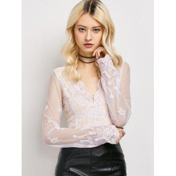 Long Sleeve Sheer Floral Lace Top