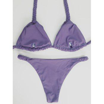 Halter Knitted High Leg Bikini Set - PURPLE L