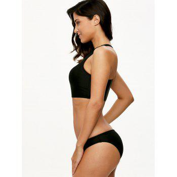 High Neck Racerback Bikini Set - BLACK BLACK