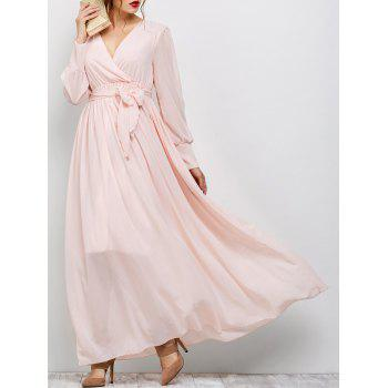 Long Sleeve Maxi Surplice Flowing Dress