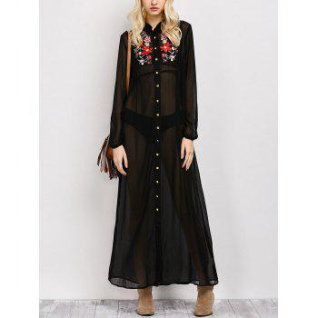 Embroidered Maxi Sheer Button Up Casual Maxi Dress