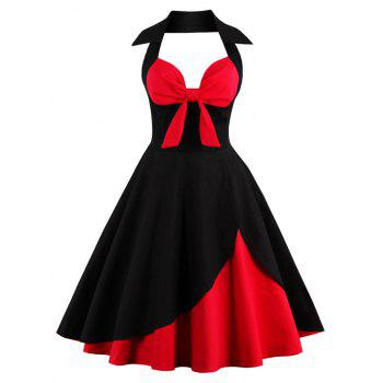 Halter Corset Vintage Rockabilly Swing Dress - RED WITH BLACK RED/BLACK
