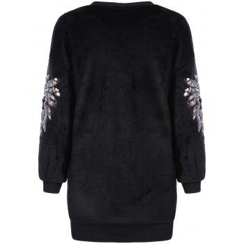 Star Sequin Drop Shoulder Sweatshirt - BLACK BLACK
