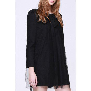Tulle Mini Shift Dress - BLACK M