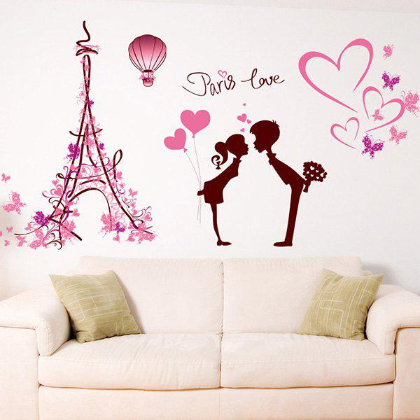 2018 romantic paris love wall stickers for bedroom pink in wall stickers online store best. Black Bedroom Furniture Sets. Home Design Ideas