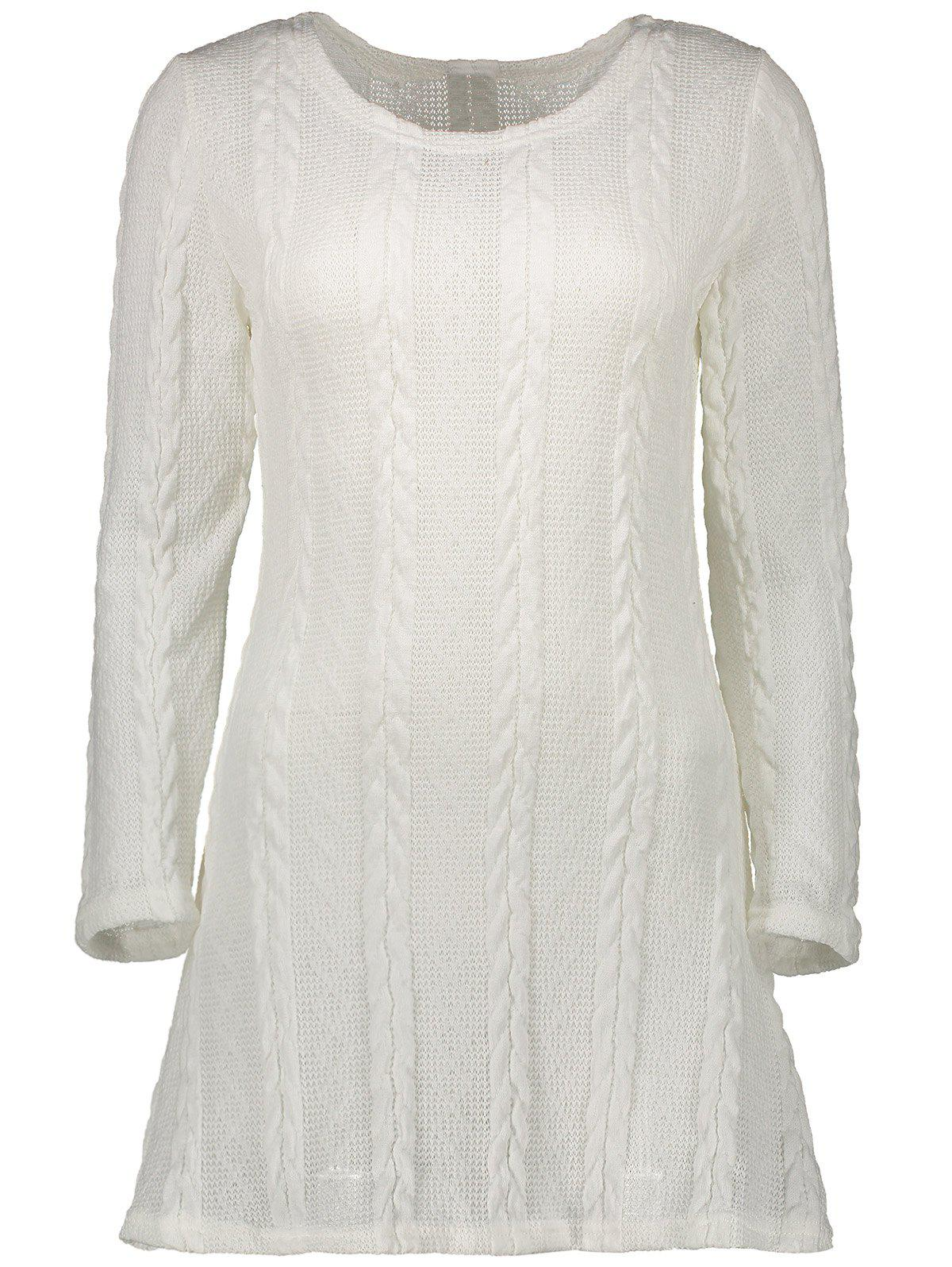 A  Line  Mini Sweater Dress - WHITE XL
