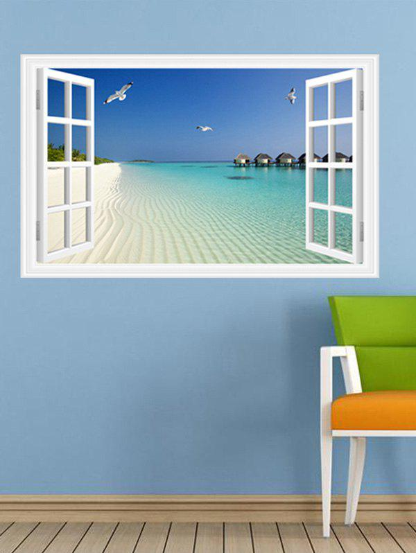 Window Design 3D Beach Removable Wall StickersHome<br><br><br>Color: LAKE BLUE