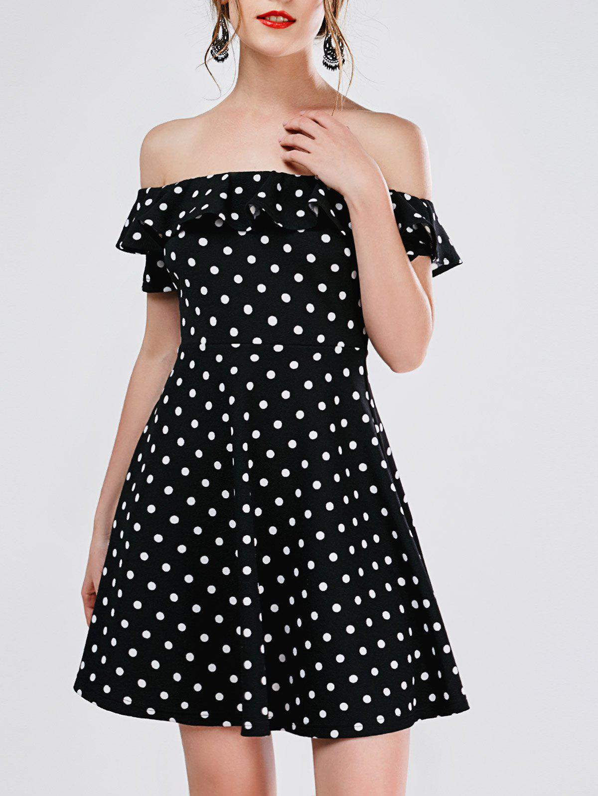 Polka Dot Mini Off The Shoulder Vestido Skater Dress - BLACK S