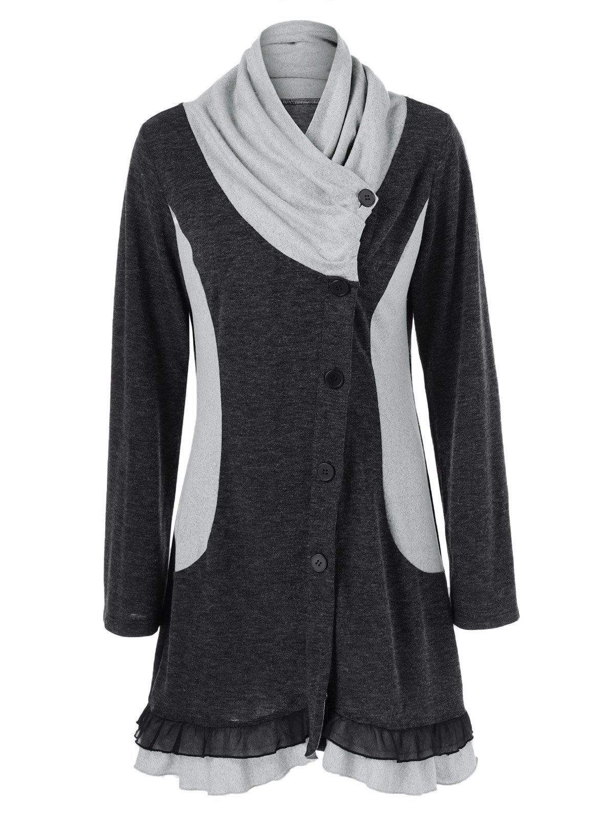 2017 Ruched Ruffled Button Up Cardigan BLACK GREY XL In Sweaters ...