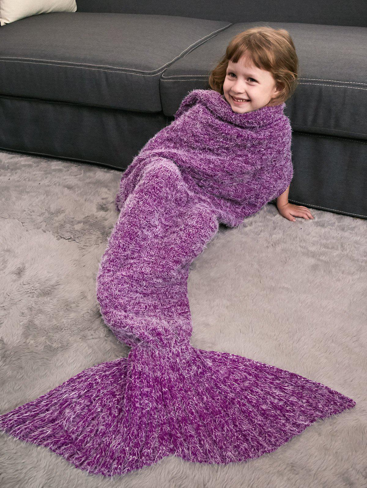 Crochet Knitted Faux Mohair Mermaid Blanket Throw For Kids - VIOLET ROSE
