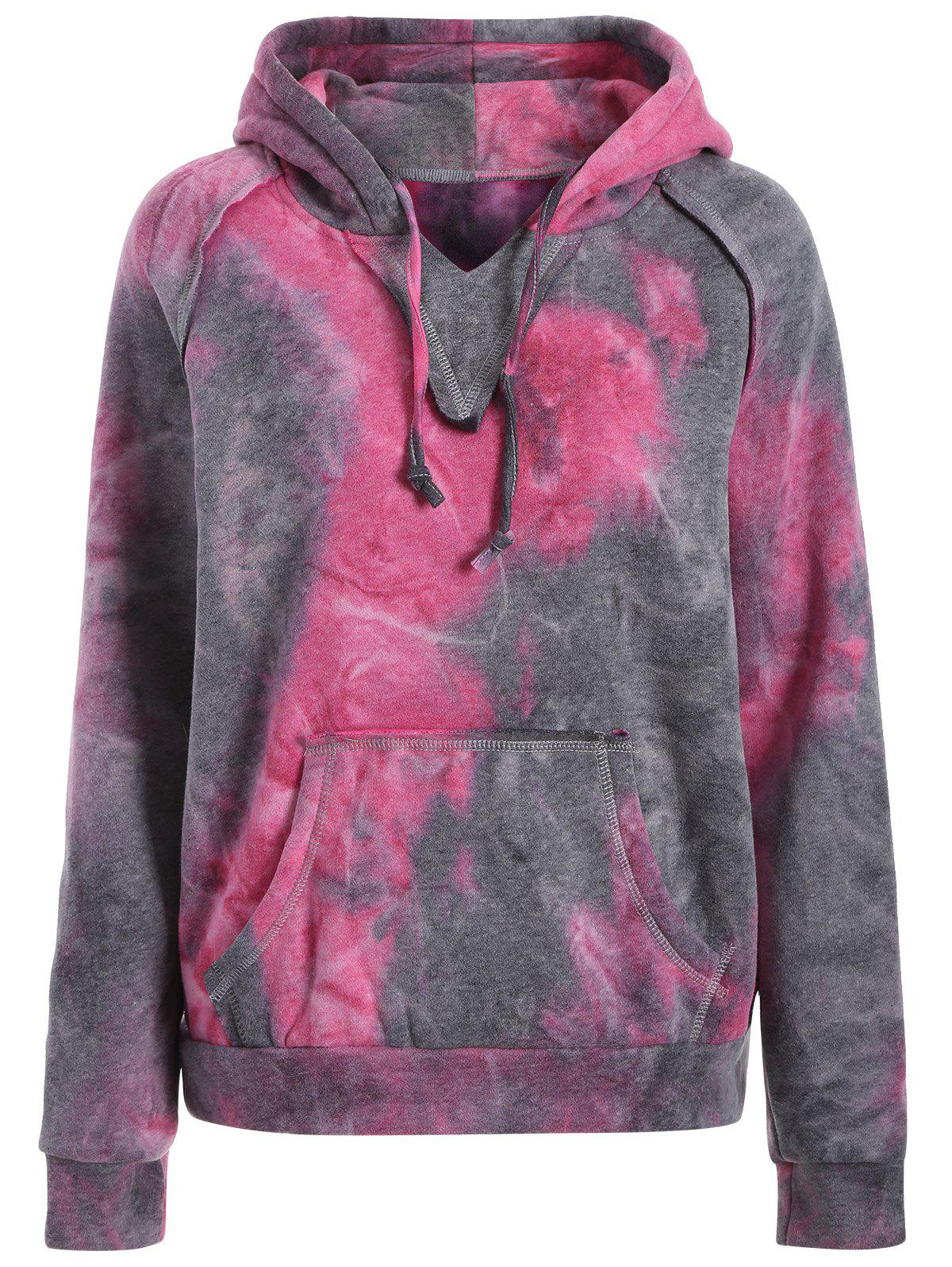 2018 sweat capuche su d en fausse peau de mouton effet tie dye pourpre xl in sweat shirts. Black Bedroom Furniture Sets. Home Design Ideas