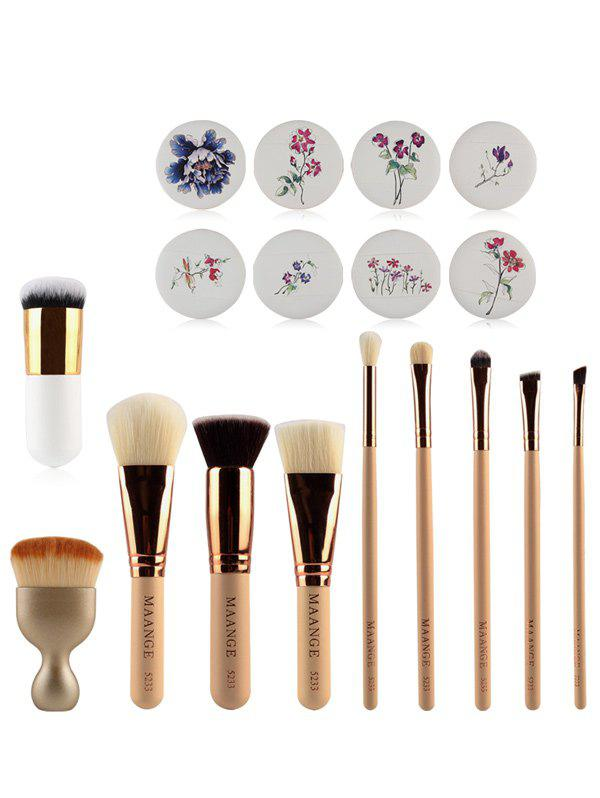 10 Pcs Makeup Brushes + Air PuffsAccessories<br><br><br>Color: COMPLEXION