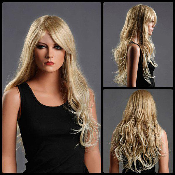 Long Fluffy Side Bang Wavy Colormix Synthetic WigHair<br><br><br>Color: DARK GOLD