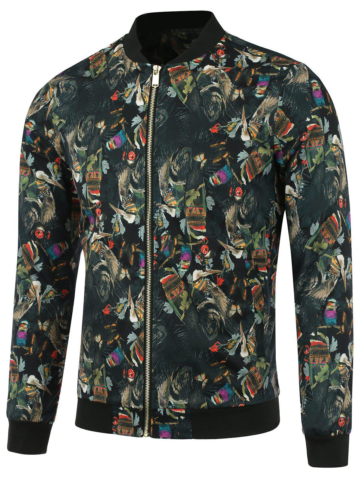3D Ethnic Style Feather Printed Zip Up Jacket - COLORMIX 2XL